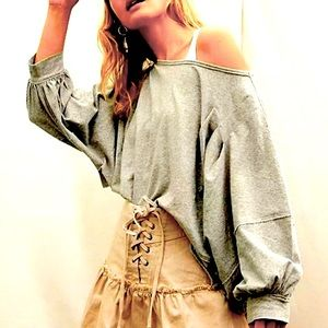 FREE PEOPLE POSITANO LACE UP DENIM SKIRT CHAMPAGNE